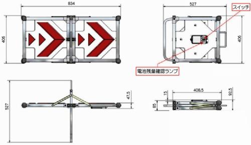 LED方向板 設置イメージ図(正面・裏・横)