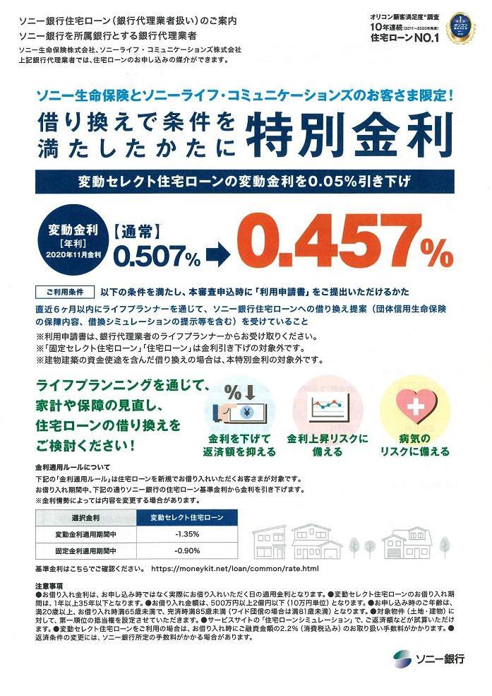 ソニー銀行住宅ローン 特別金利のご紹介:画像