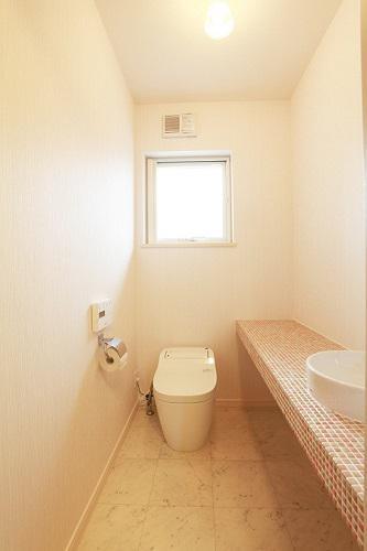 造作カウンターと手洗器を設置したトイレ:画像