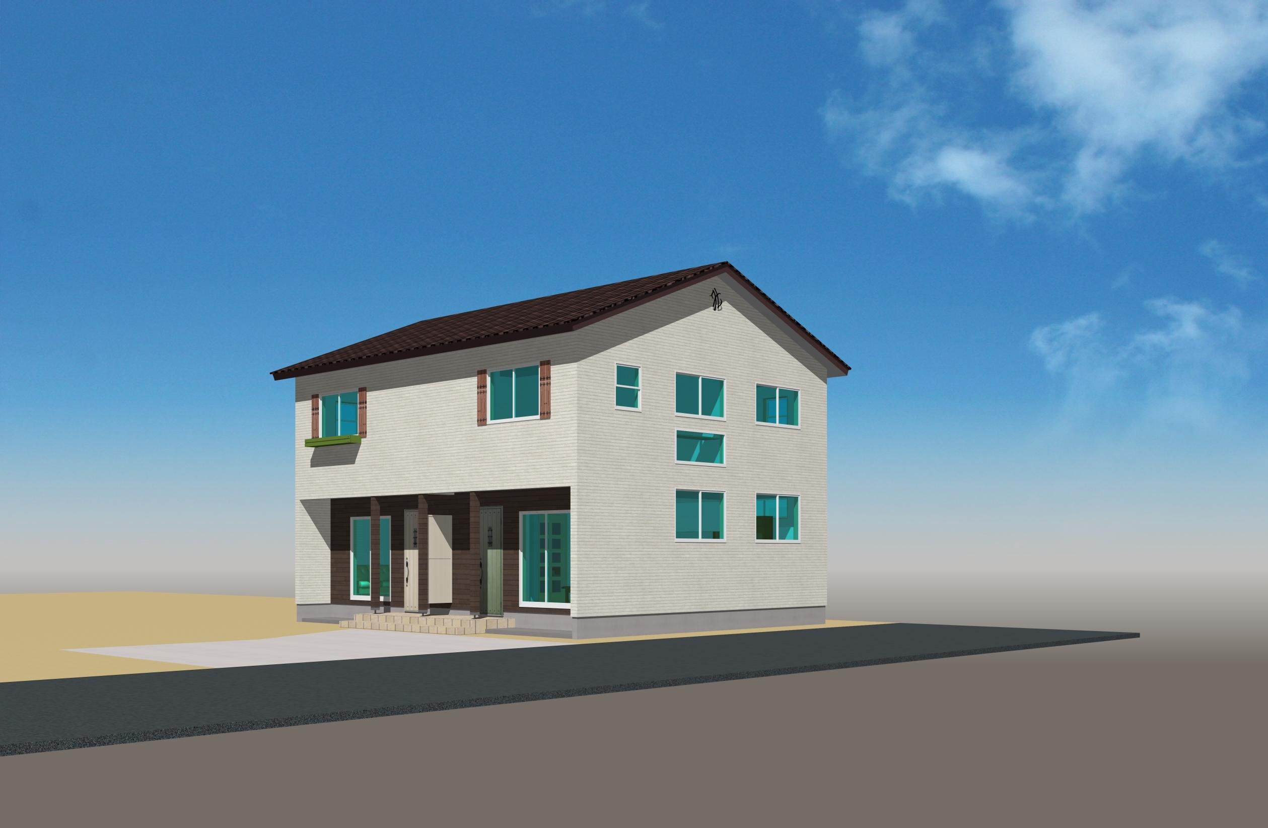 洋風瓦がかわいらしい単世帯×2セット住宅