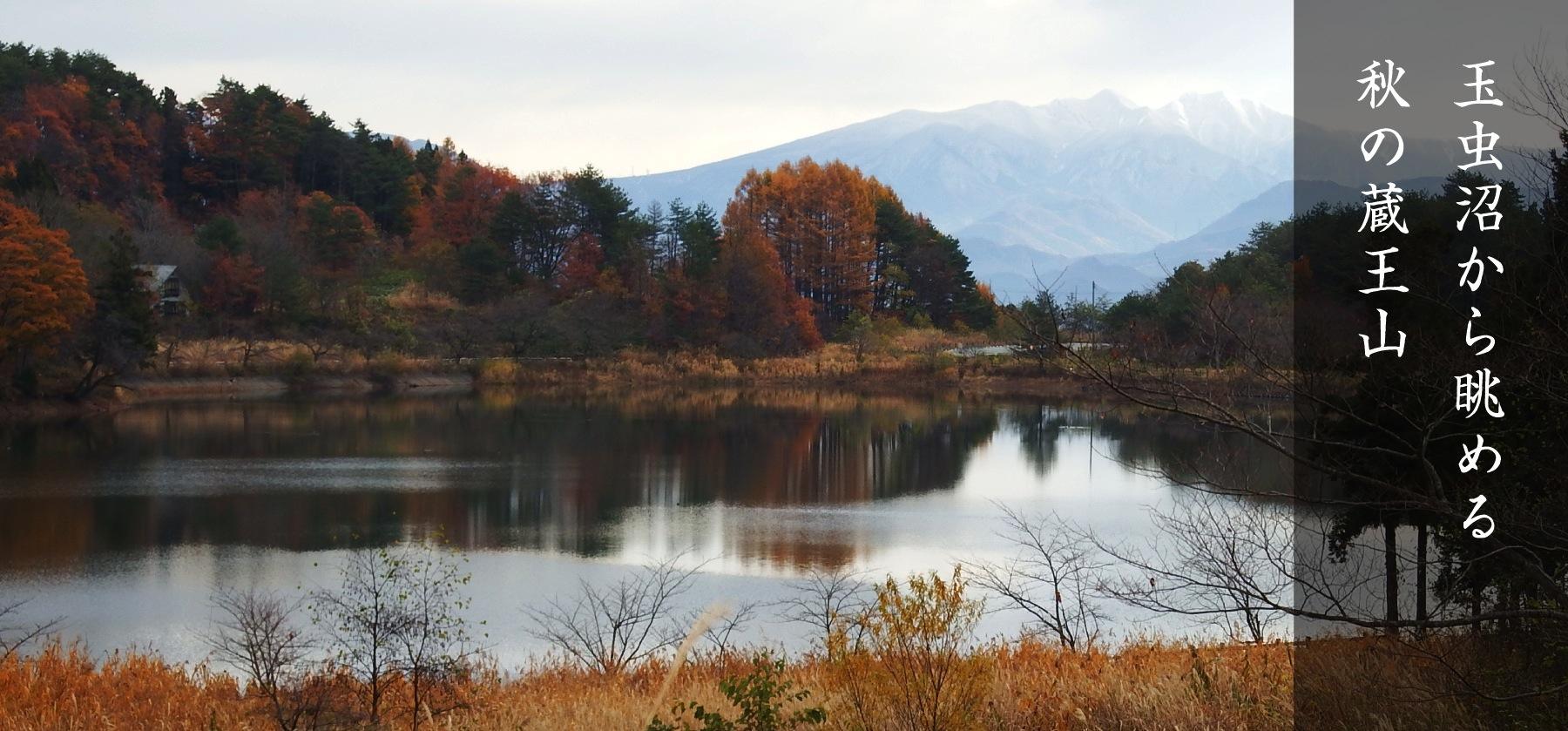玉虫沼から眺める秋の蔵王山