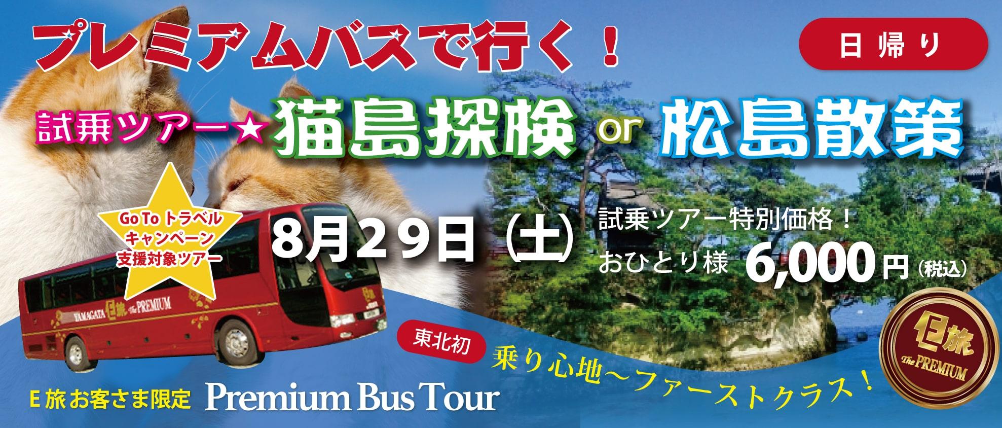プレミアムバスで行く!試乗ツアー★〜猫島探検or松島散策〜