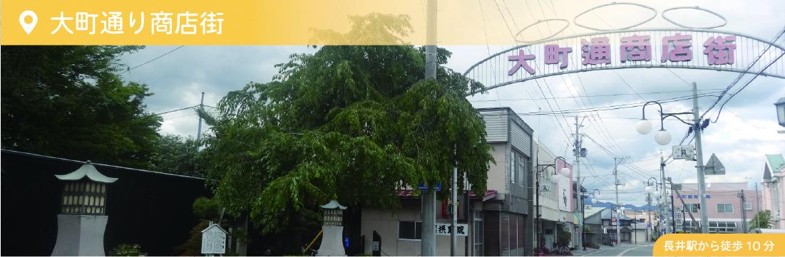 大町通り商店街 長井駅から徒歩約10分